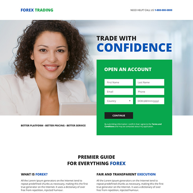 online forex trading platform sign up capturing responsive landing page Forex Trading example