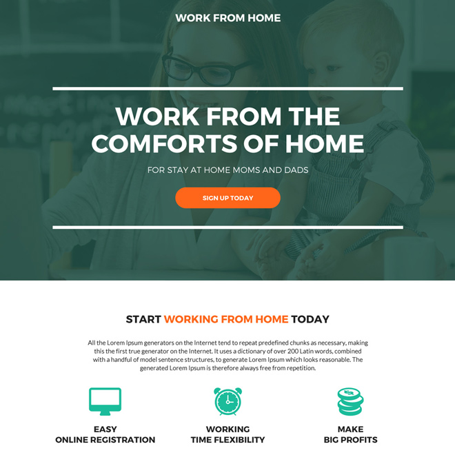 work from home sign up capturing modern landing page Work from Home example