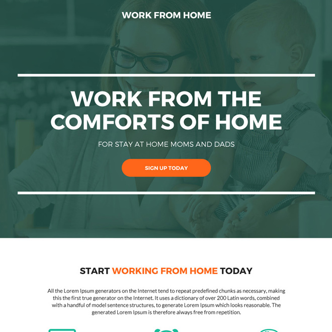 work from the comfort of your home responsive landing page Work from Home example