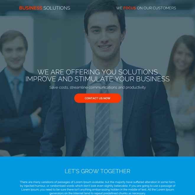 small business solutions responsive landing page designs Business example