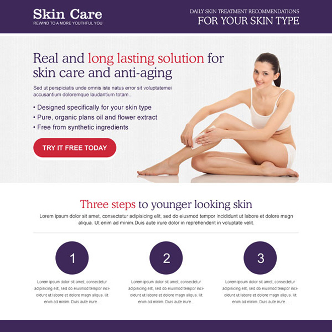 long lasting solution for skin care and anti ageing product landing page design to increase your leads Skin Care example