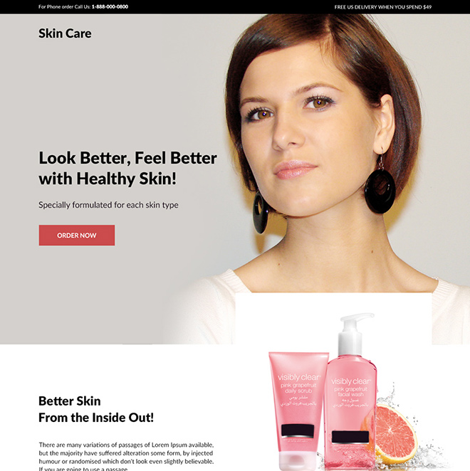 skin care product responsive landing page design Skin Care example