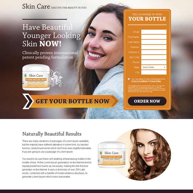 skin care product selling bank page design Skin Care example