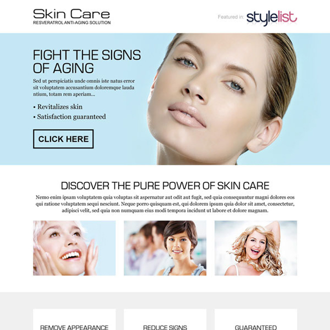 fight the signs of ageing call to action landing page design Skin Care example