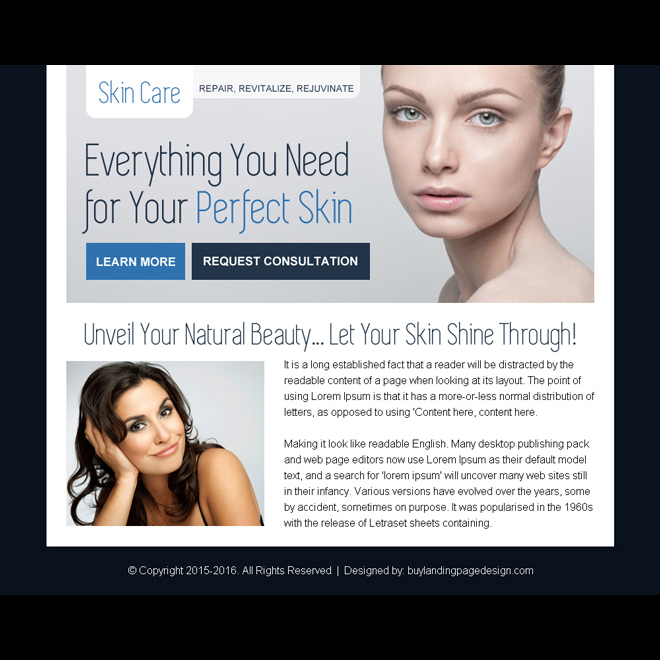 skin care consultation ppv landing page design Skin Care example