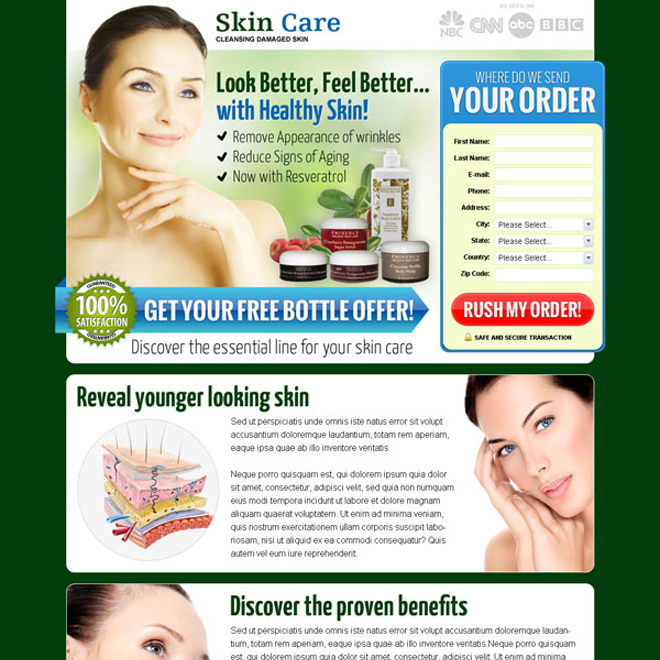 skin care lead capture landing page design templates to increase sales of your skin care product Skin Care example