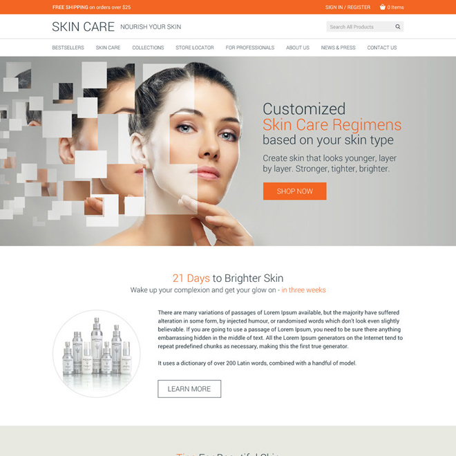 skin care product selling clean website design Skin Care example