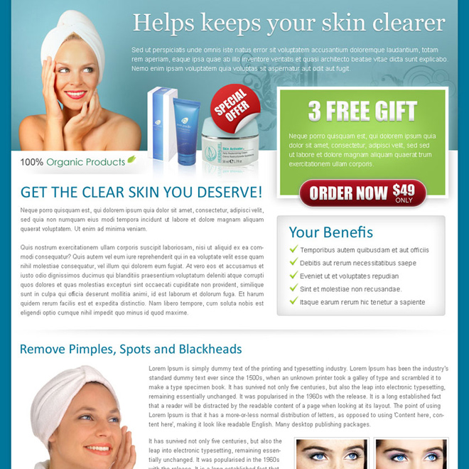 skin care product review call to action landing page design for sale Skin Care example