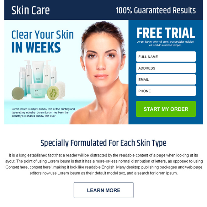 skin care product free trial lead gen ppv landing page Skin Care example