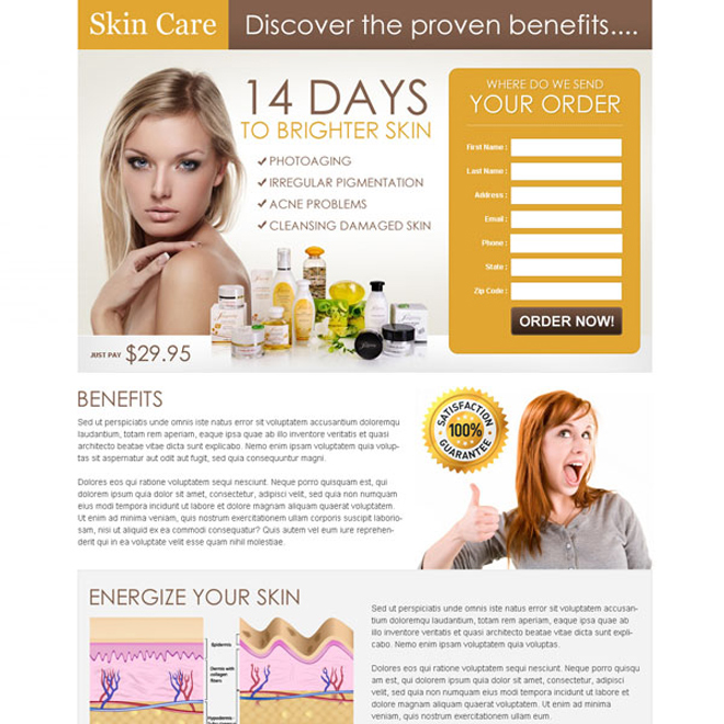 brighter skin care product most effective and converting landing page design to increase your sales and leads Skin Care example