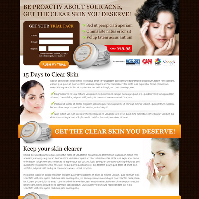 clear skin you deserve trial pack small lead capture landing page template Skin Care example