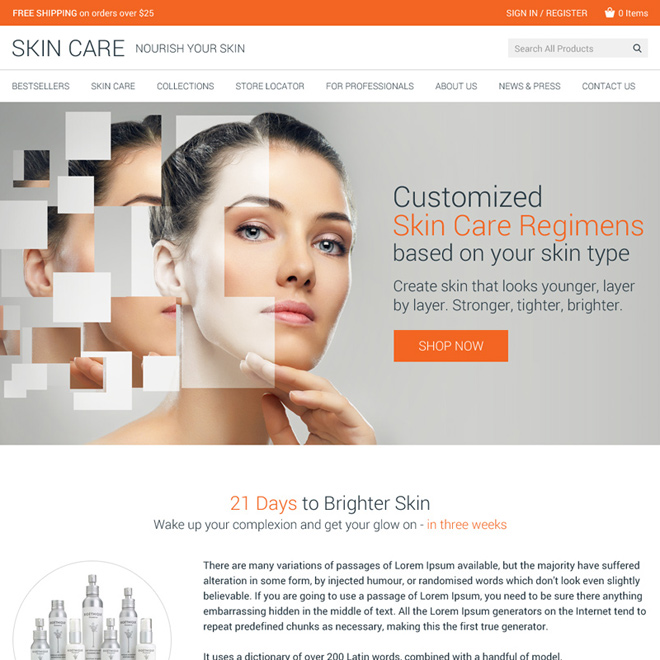 skin care product selling website design template Skin Care example
