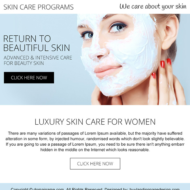 skin care programs PPV design Skin Care example