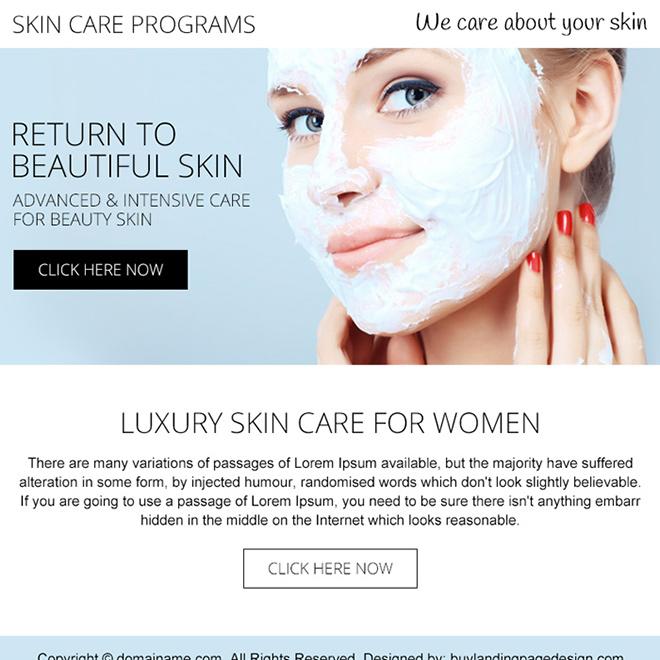 skin care programs PPV design Skin Care example