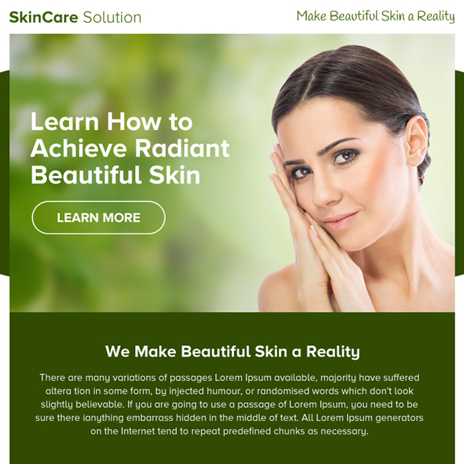skin care solution ppv landing page design Skin Care example