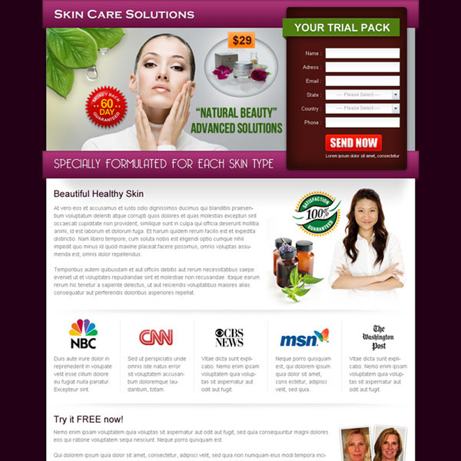 natural beauty advance solution landing page design Skin Care example