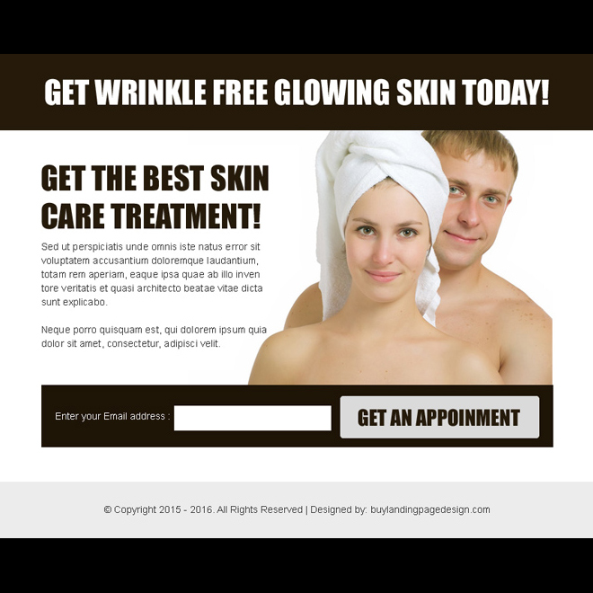 skin care treatment converting lead gen ppv landing page template Skin Care example