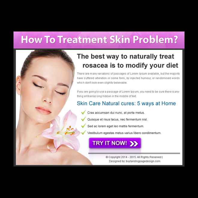 skin care treatment service call to action attractive ppv landing page design Skin Care example