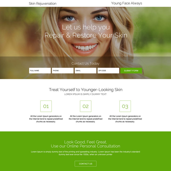 skin rejuvenation treatment landing page design Skin Care example