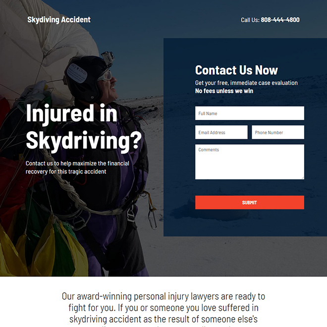 skydiving accident injury claims responsive landing page design Personal Injury example
