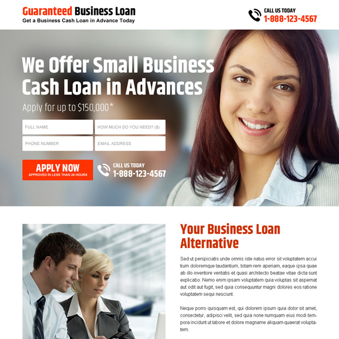 small business cash loan in advance lead capture landing page design Business Loan example