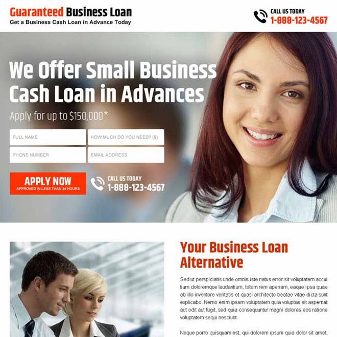 small business cash loan advance responsive landing page Business Loan example