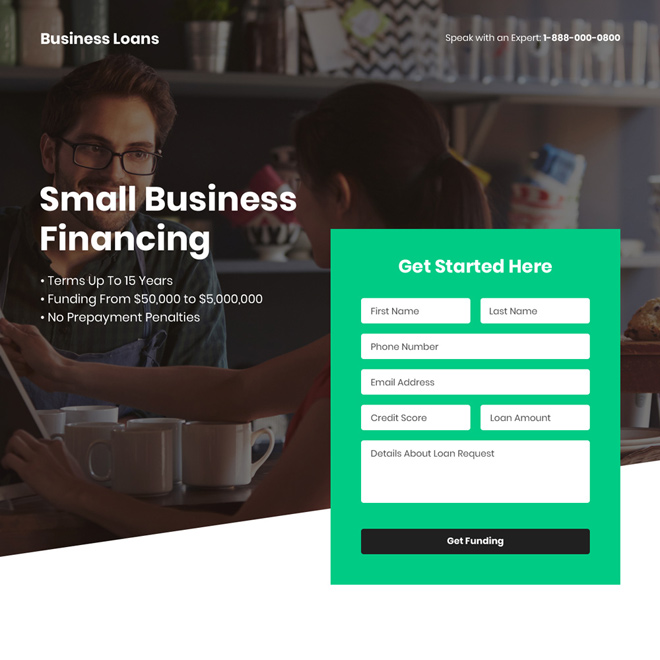 small business funding bootstrap landing page design Business Loan example