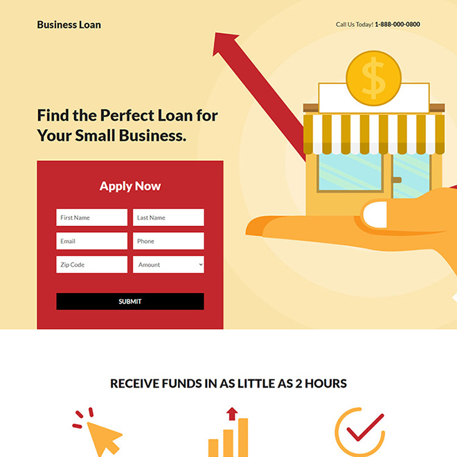 small business funding responsive landing page design Business Loan example