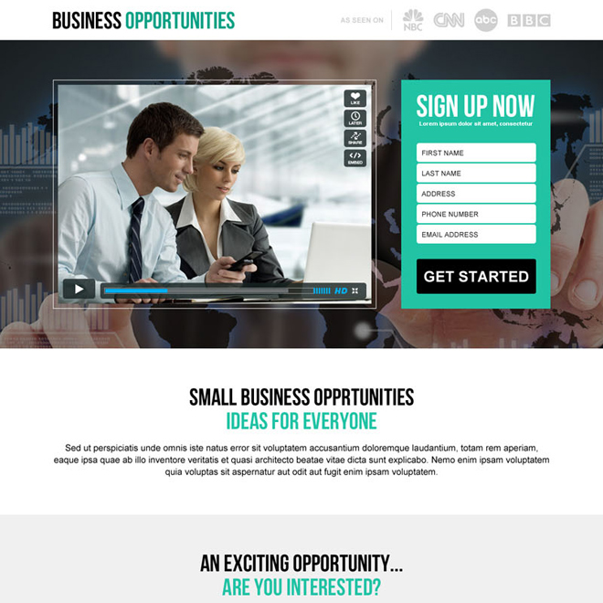 small business idea lead generation video responsive landing page design Business Opportunity example