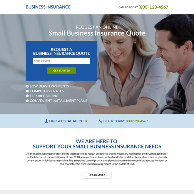 small business insurance quote squeeze page design Business Insurance example