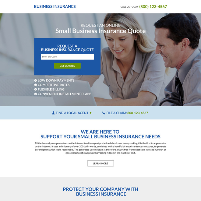 responsive business insurance minimal landing page Business Insurance example