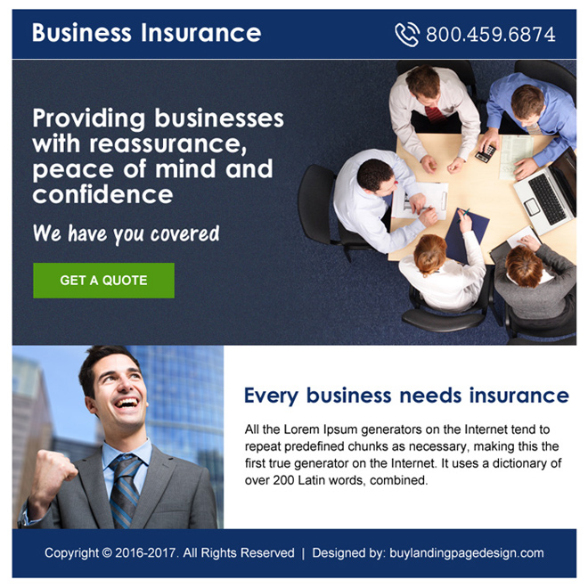 small business insurance free quote ppv landing page design Business Insurance example