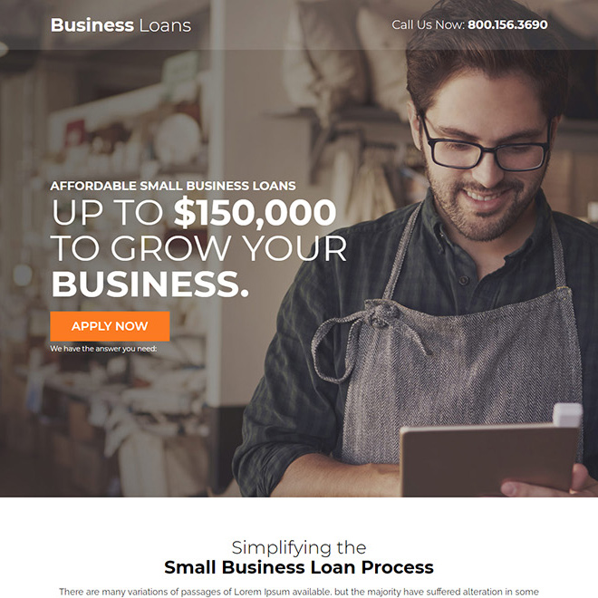 affordable small business loan responsive landing page design Business Loan example