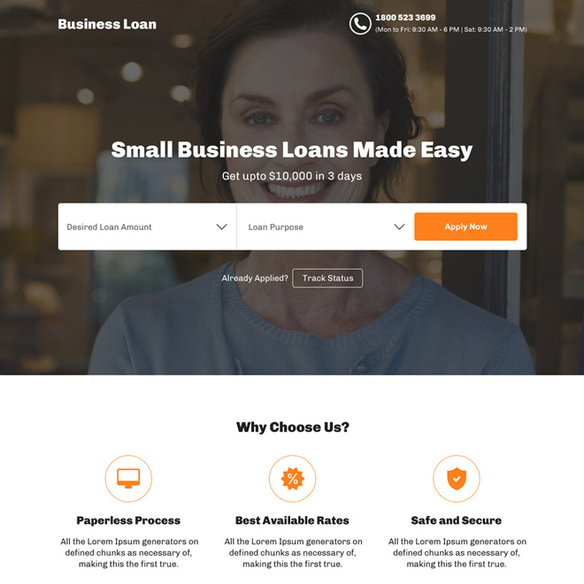 small business loan responsive landing page design Business Loan example