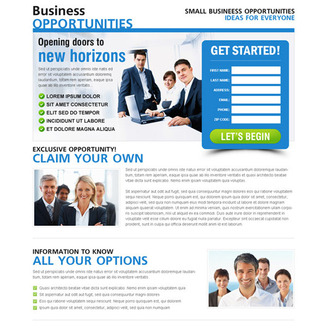 small business opportunities clean and user friendly lead gen page design Business example