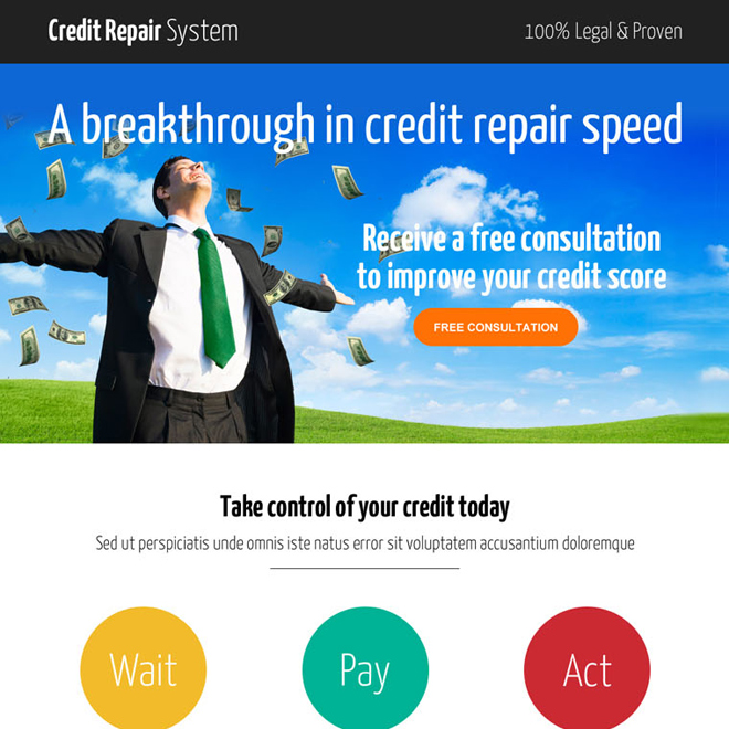 smart credit repair consultation call to action landing page design Credit Repair example