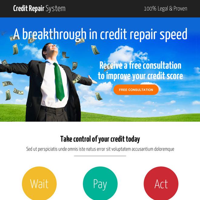 smart credit repair consultation call to action landing page design Credit Repair example