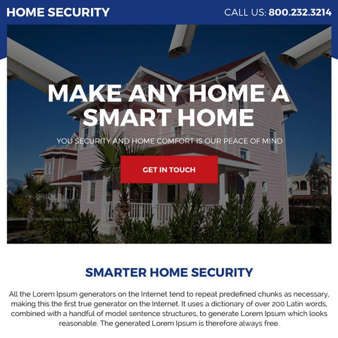smarter home security call to action ppv landing page design Security example
