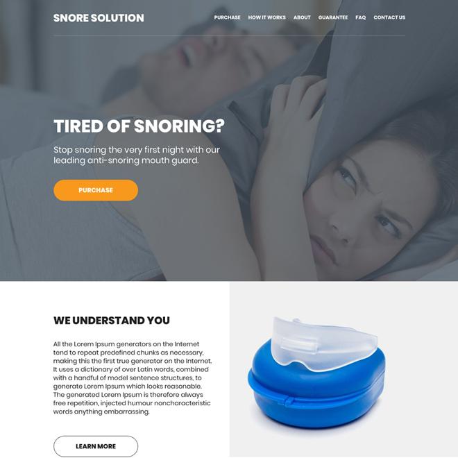 anti snoring mouth guard selling responsive website design Anti Snoring example