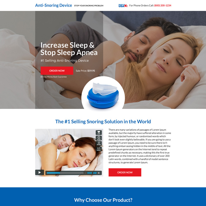 anti snoring device selling minimal landing page design Anti Snoring example