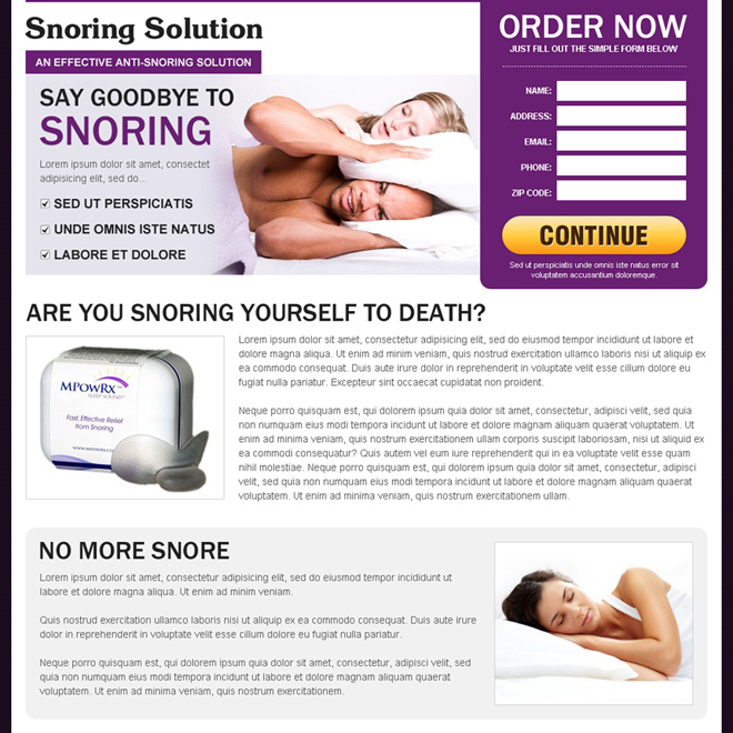 anti snoring solutions product responsive landing page Anti Snoring example