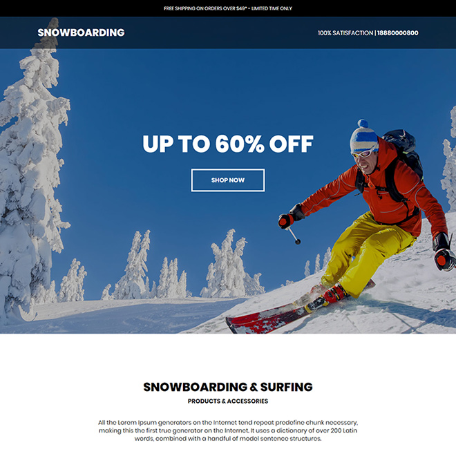 snowboarding products responsive ecommerce landing page design Sports example