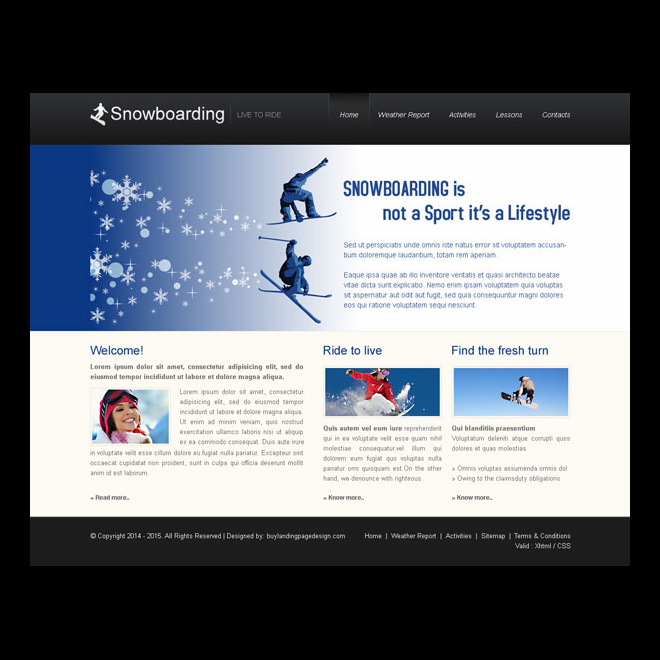 snowboarding clean and professional website template design psd Website Template PSD example