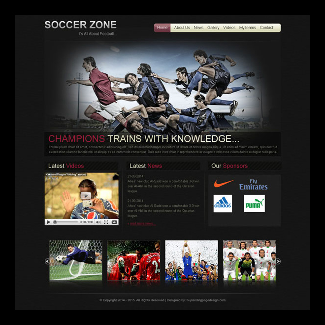 soccer sports appealing and converting website template design psd Website Template PSD example