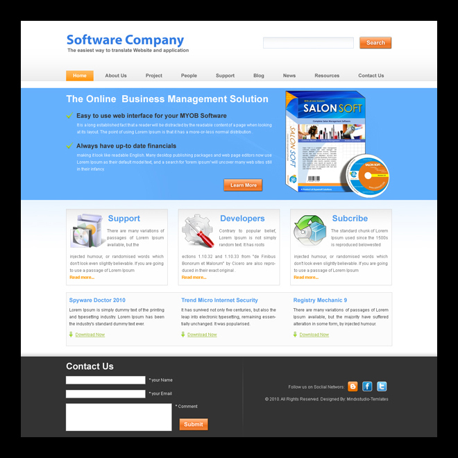 the online business management solution clean and attractive software website template Website Template PSD example