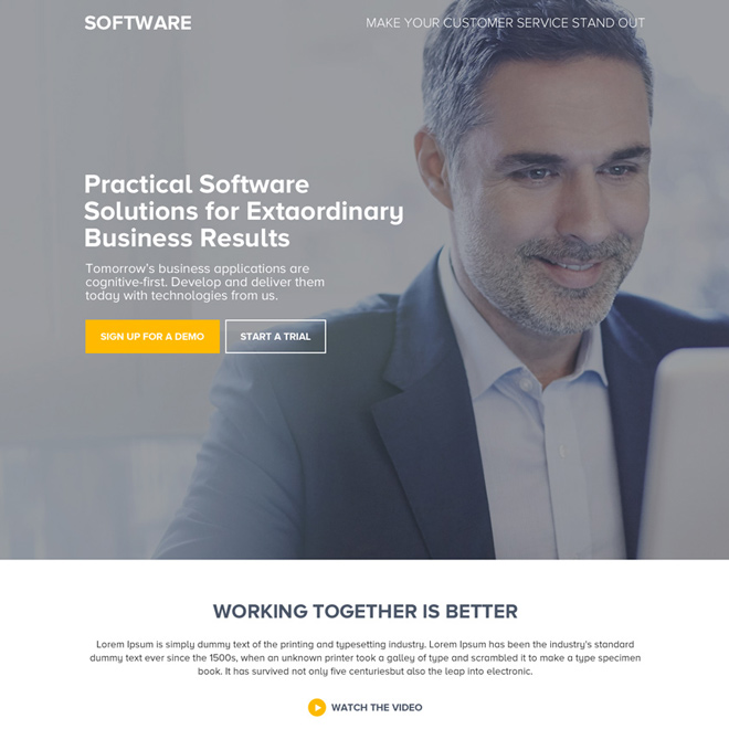 software solution for business responsive landing page Software example