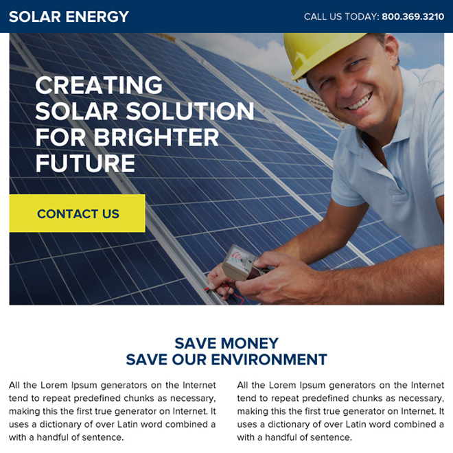 solar energy ppv landing page design template Solar Energy example