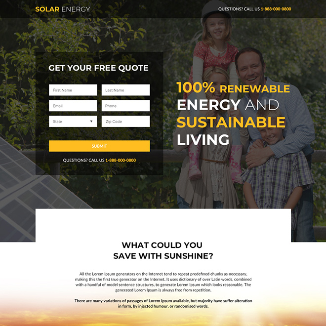 solar panels and solar suppliers responsive landing page Solar Energy example