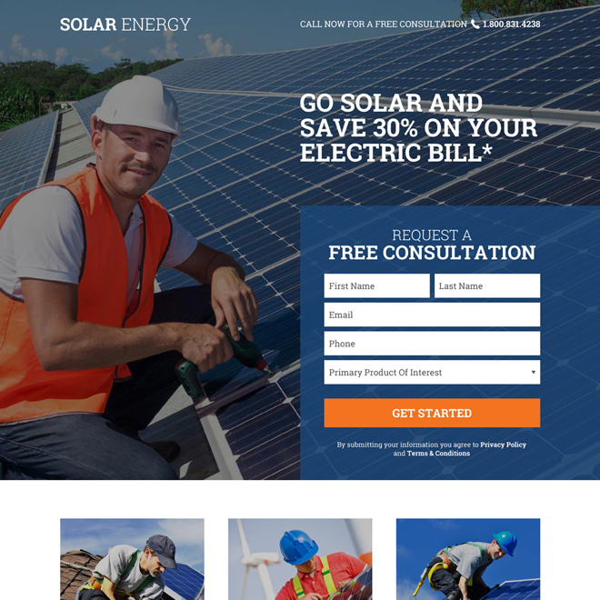 solar energy free consultation lead capturing responsive landing page Solar Energy example