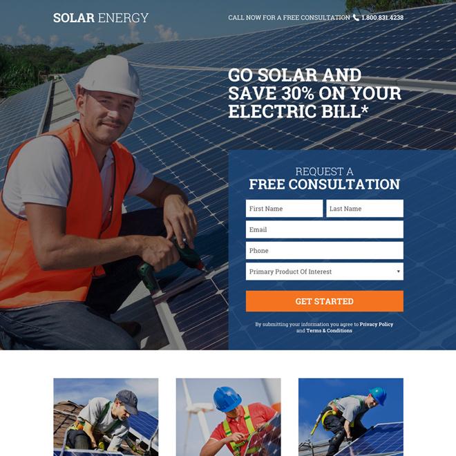 solar energy free consultation service landing page Solar Energy example